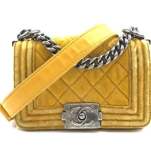 Boy#Cc Cross Body Yellow Velvet Shoulder Bag